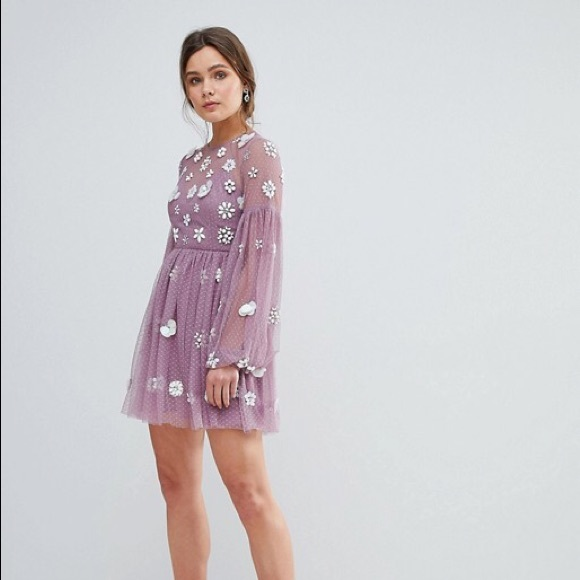 ASOS Floral Cluster Balloon Sleeve Dress